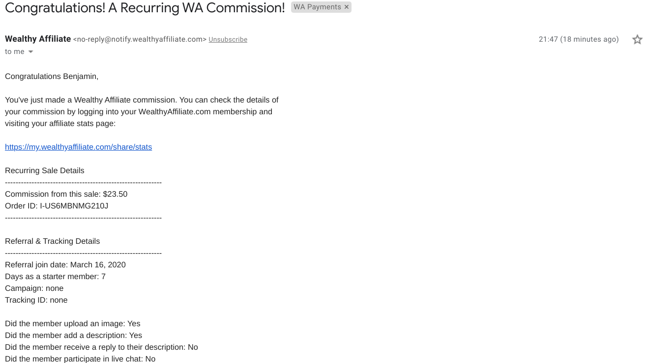 Payment Proof of Recurring Commission At Wealthy Affiliate
