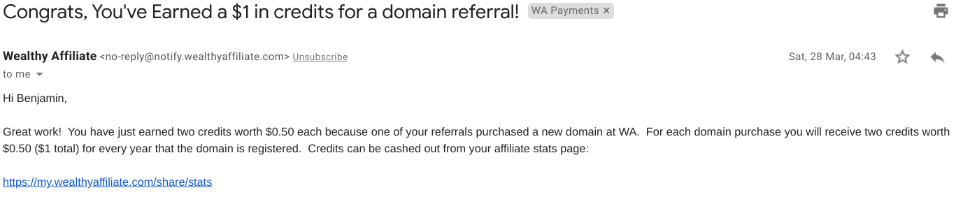 Domain Credits Earned at Wealthy Affiliate